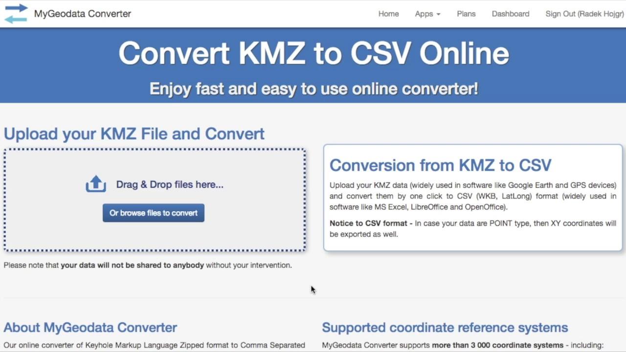 convert kml to csv online free