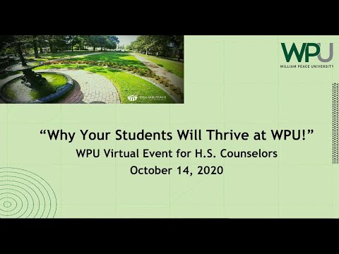 HS Counselor Virtual Introduction with William Peace University Oct2020