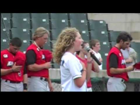 Landree singing National Anthem at Fort Worth Cats Game