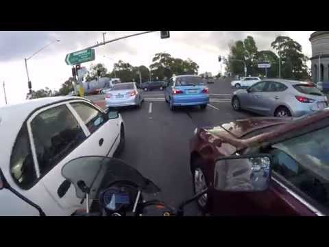 Peak Hour Traffic Hume HWY Chullora Sydney Australia Motorbike Filtering