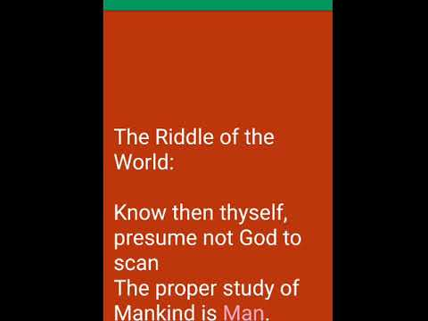 The Riddle of the World by Alexander Pope - YouTube