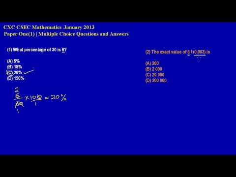 CXC CSEC Math Multiple Choice Ques 1 2 Jan 2013by Will