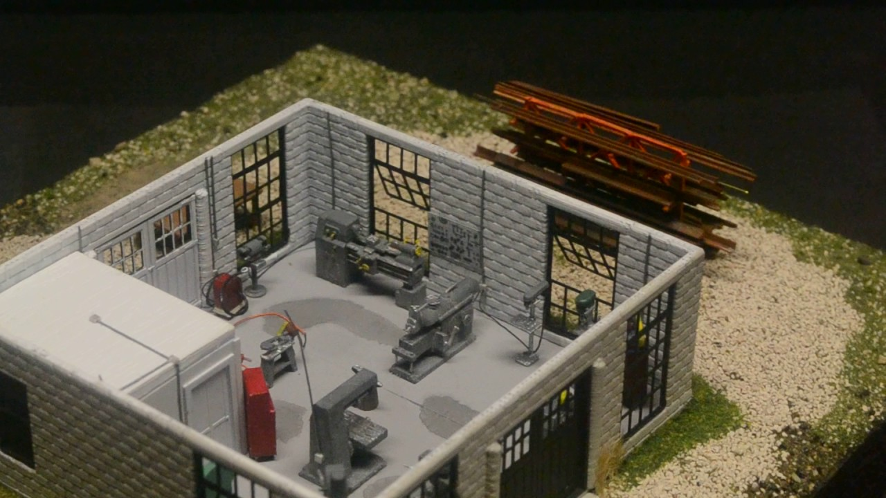 Machine shop interior ho scale 3d printed youtube - Printable ho scale building interiors ...