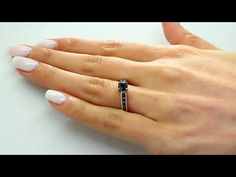 1 CT BLACK ROUND CUT DIAMOND SOLITAIRE ENGAGEMENT RING 10K WHITE GOLD
