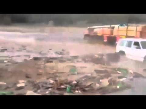 Flooding In Yemen:Truck Driven Away.