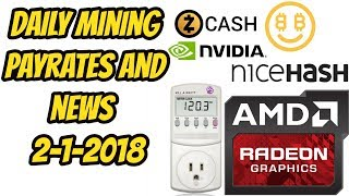 Daily Mining news NiceHash gtx 1050/1060 2-1-18