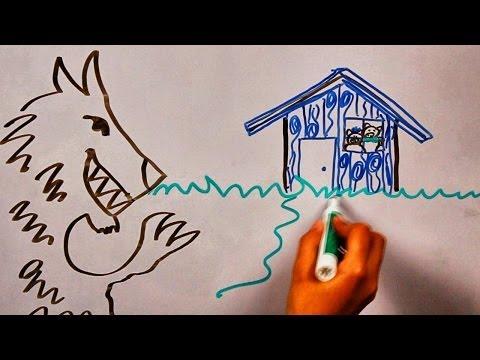 Три поросёнка и волк - сказки - детей