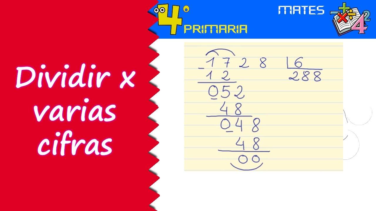 Matemáticas. 4º Primaria. Tema 4. Divisiones por más de una cifra ...
