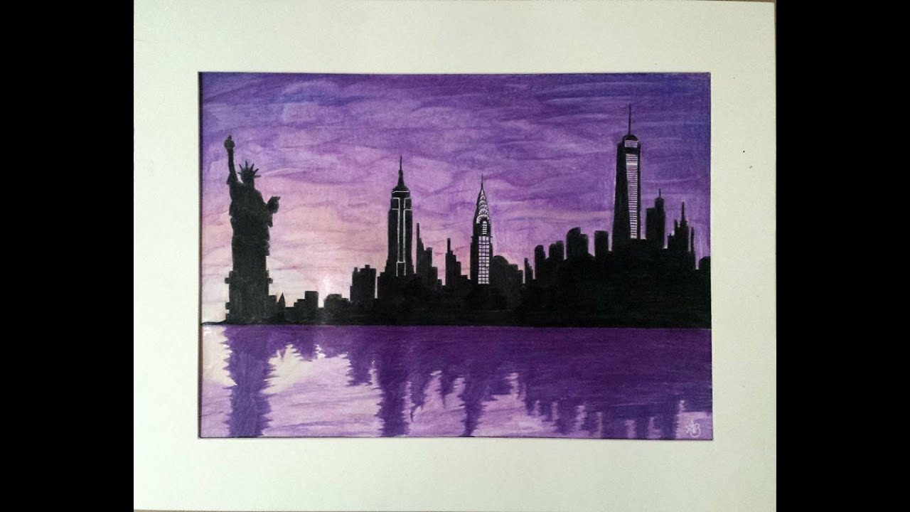 New York City Skyline At Night Drawing | www.imgkid.com ...