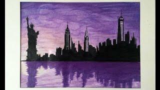 New York New York (Frank Sinatra) Skyline Silhouette Speed Drawing