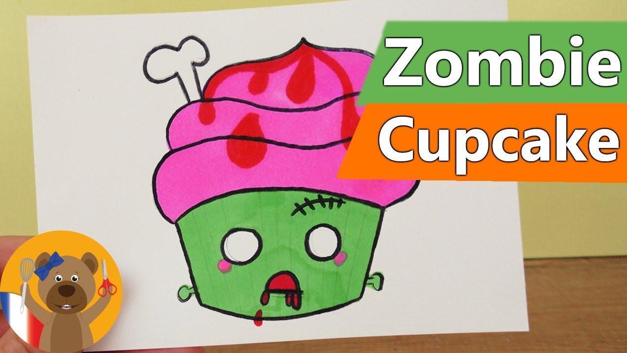 Diy Dessiner Un Cupcake Zombie Kawaii Dessiner Un Halloween Monster Muffin Instructions