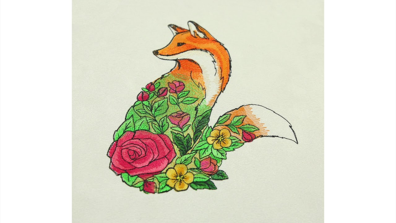 Embroidery Library Floral Fox Youtube