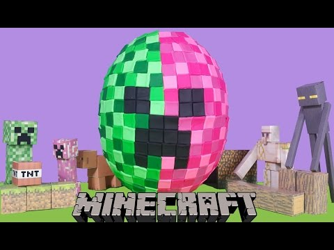 MINECRAFT CREEPER Giant Play Doh Surprise Egg With Minions Lego Blind Bags And More