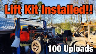 Rebuilding A Wrecked 2013 Jeep Wrangler JK Part 8 Installing fox shot & JKS Lift kit
