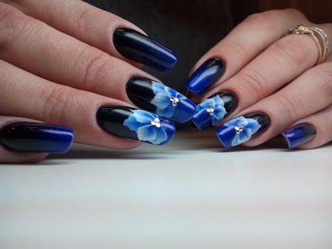 Дизайн ногтей черно синий