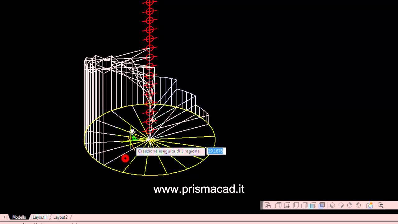 Progettazione Scale A Chiocciola : Corso di autocad costruire una scala a chiocciola d helix