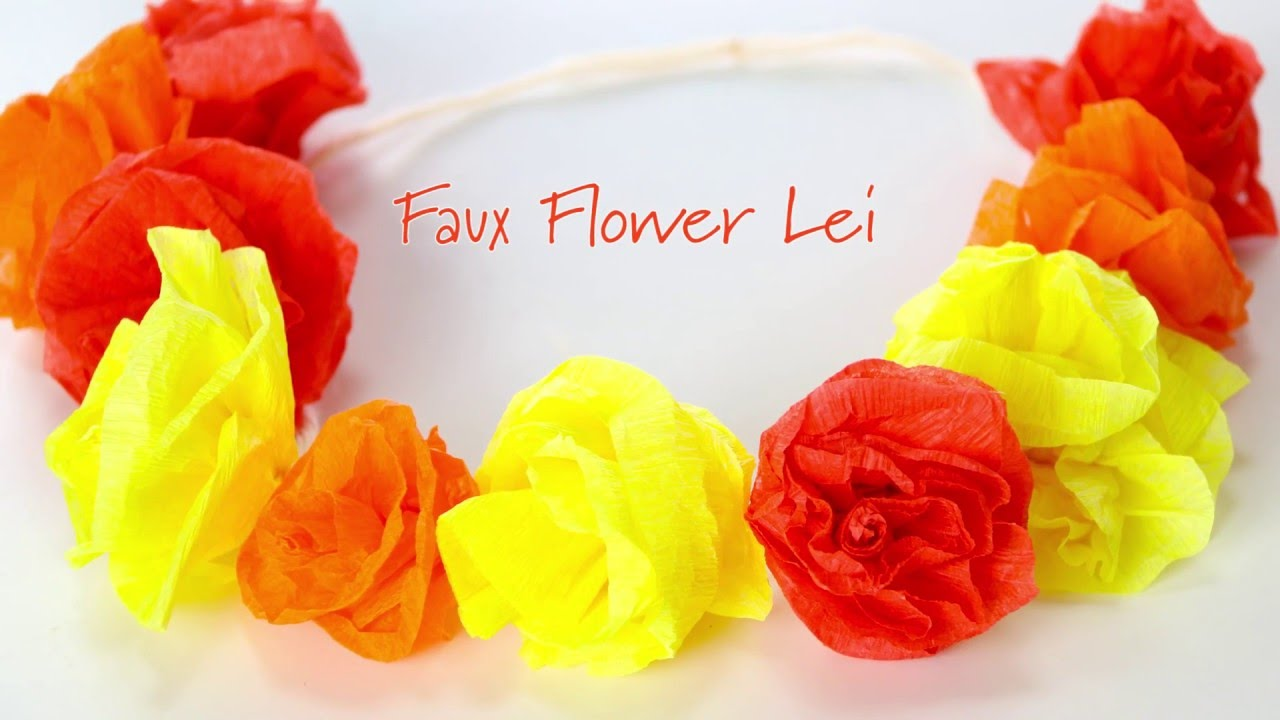Diy pretty easy faux flower lei youtube izmirmasajfo
