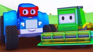Carl o Super Caminhão e a Colhedora na Cidade do Carro   Desenho animado para crianças