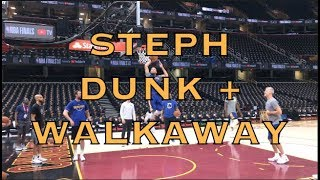 Steph Curry dunk + walk-away shot from morning shootaround Cleveland before 2018 NBA Finals G4