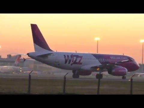 Wizz Air Airbus A320-200 Sunset arrival at Belgrade Airport Nikola Tesla