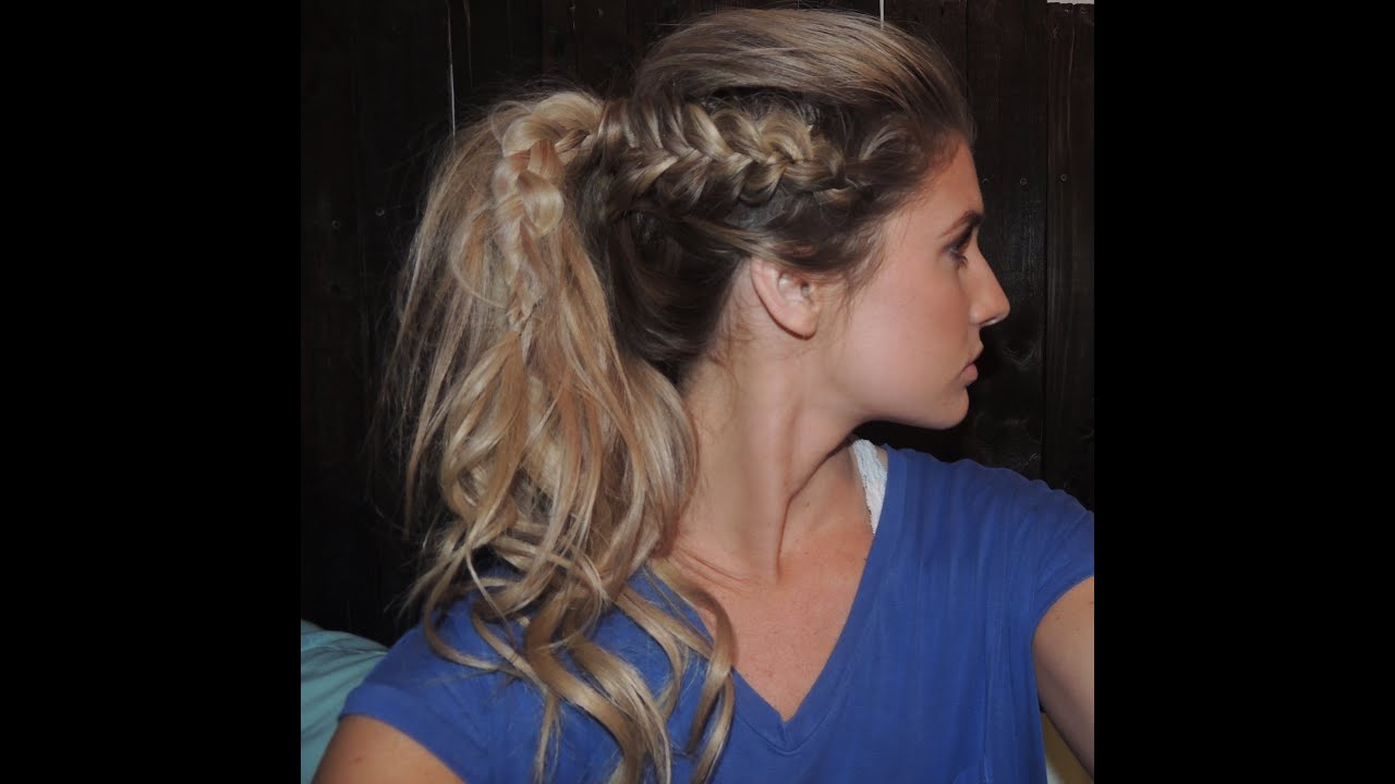 how to tutorial on side dutch braids to a ponytail