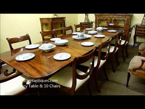 Antique Regency Mahogany Dining Table & 10 Chairs (03181b)