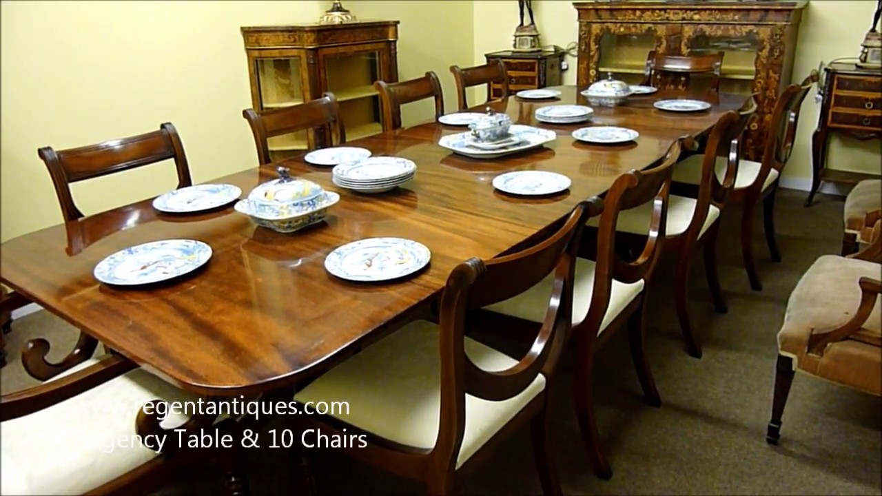 Antique Regency Mahogany Dining Table & 10 Chairs