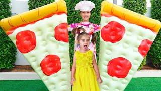 Nastya and Mia Pretend Play with Inflatable Food Toys