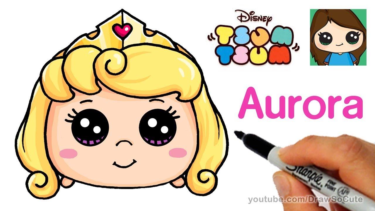 Cómo Dibujar Olaf En La Versión Disney Tsum Tsum: How To Draw Aurora Sleeping Beauty