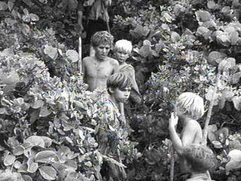 What religious imagery in Lord of the Flies shows a fall from grace, a savior, and redemption?