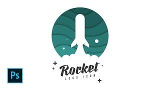 How to Create Rocket Launch Flat Logo Design in Photoshop - Photoshop Tutorials