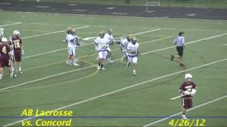 Acton Boxborough Varsity Lacrosse vs Concord 4/25/12