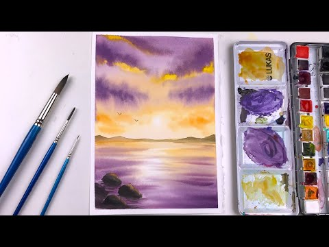 Easy Watercolor Painting For Beginners Sunset Reflection | Step by Step