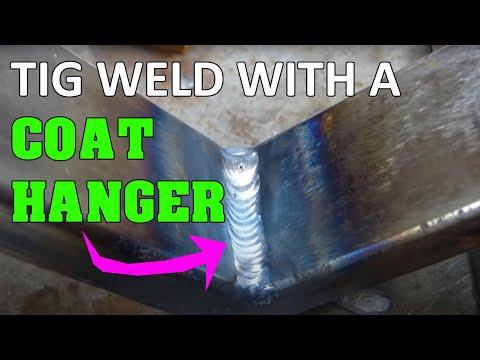 Tig welding with a coat hanger + bend test