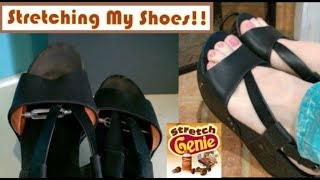 Stretching My Shoes!! Stretch Genie Shoe Stretcher Review!! Widening Your Shoes!!