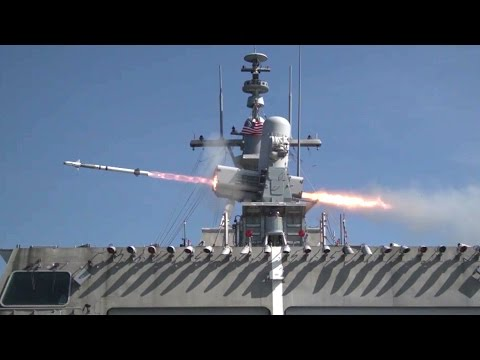 Missile Versus Drone – Littoral Combat Ship USS Jackson SeaRAM System In Action