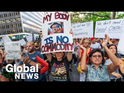 """""""We will not comply!"""" New York protesters reject COVID-19 vaccine mandates"""
