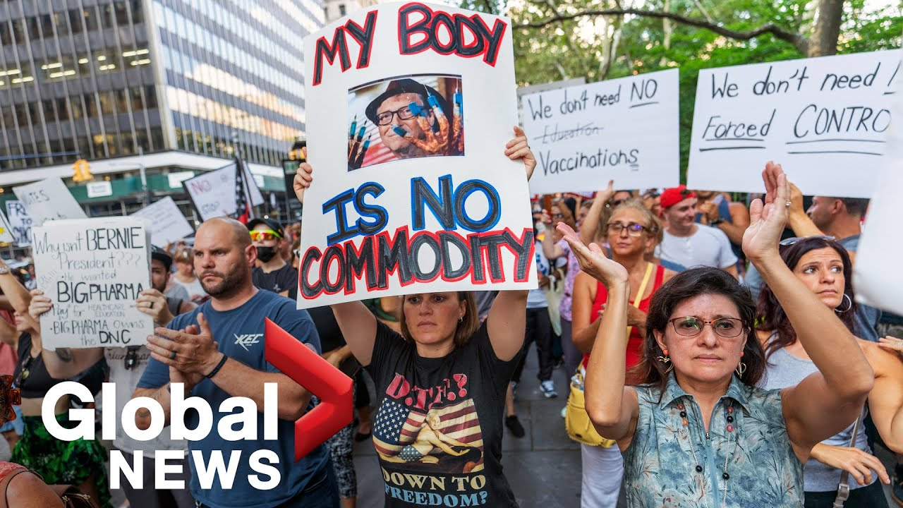 """We will not comply!"""" New York protesters reject COVID-19 vaccine ..."""