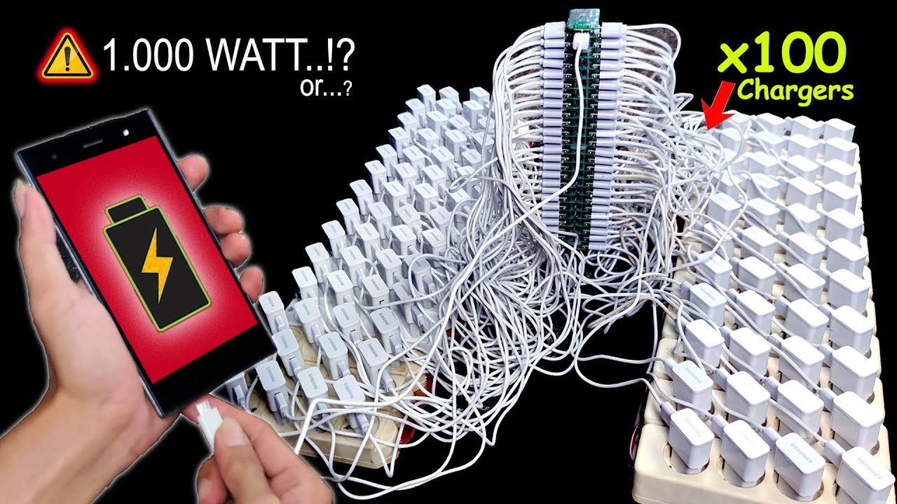 100 CHARGERS vs 1 PHONE EXPERIMENT (Ngecas HP vs 100 Charger Samsung) Fast Charging?