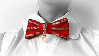 DIY crafts: How to make bow tie from zipper | Recycled clothing | Reuse zippers | Maison Zizou
