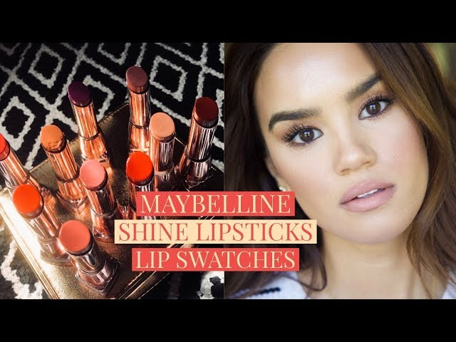 MAYBELLINE SHINE LIPSTICKS! LIP SWATCHES + REVIEW! | DACEY CASH