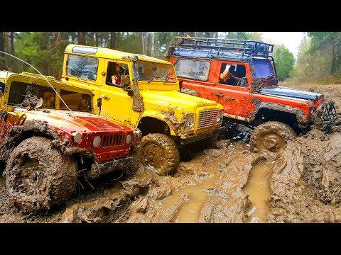 RC Cars MUD OFF Road — Land Rover Defender 90 and Hummer H1