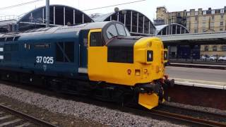 (HD) BR Large Logo 37025 Ultrasonic Test Train at Newcastle  (30-05-16)