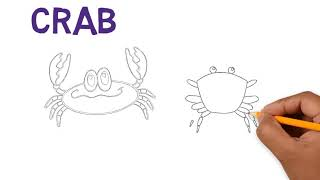 drawing crabs, how to draw crab, coloring page for kids, coloring book for kids