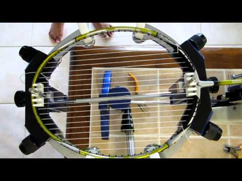 Badminton racket stringing video tutorial.