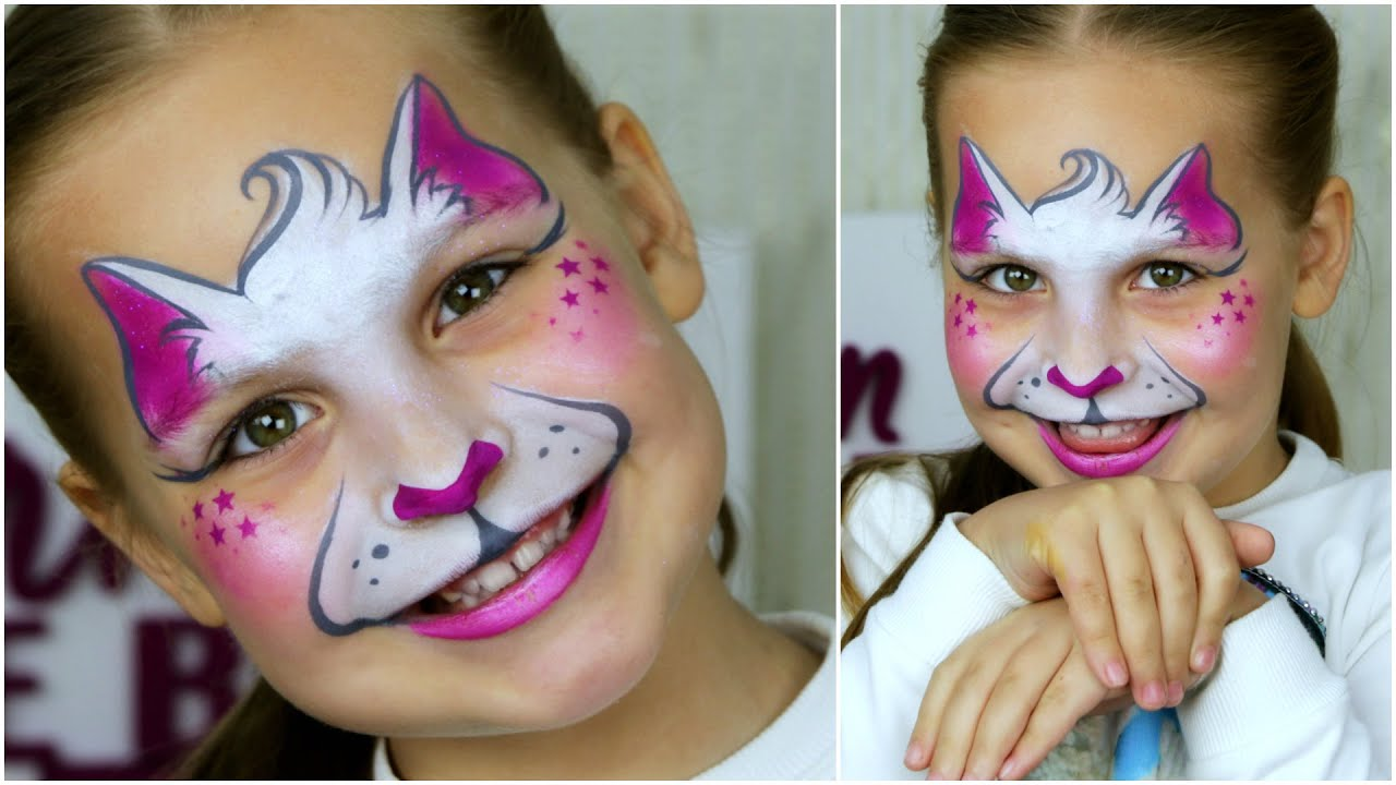 super fast easy kitty cat face painting tutorial youtube. Black Bedroom Furniture Sets. Home Design Ideas