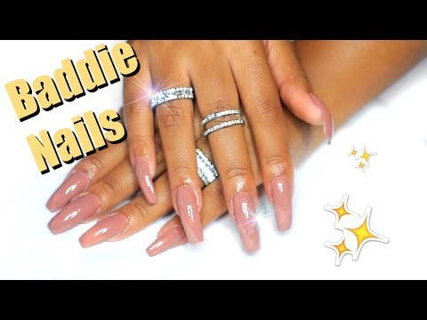 BADDIE NAILS UNDER $10! DIY NAILS AT HOME| NO ACRYLIC!