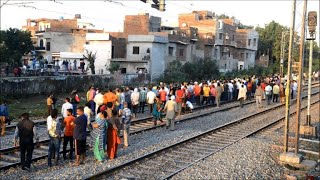 Indians gather at train crash site in Amritsar