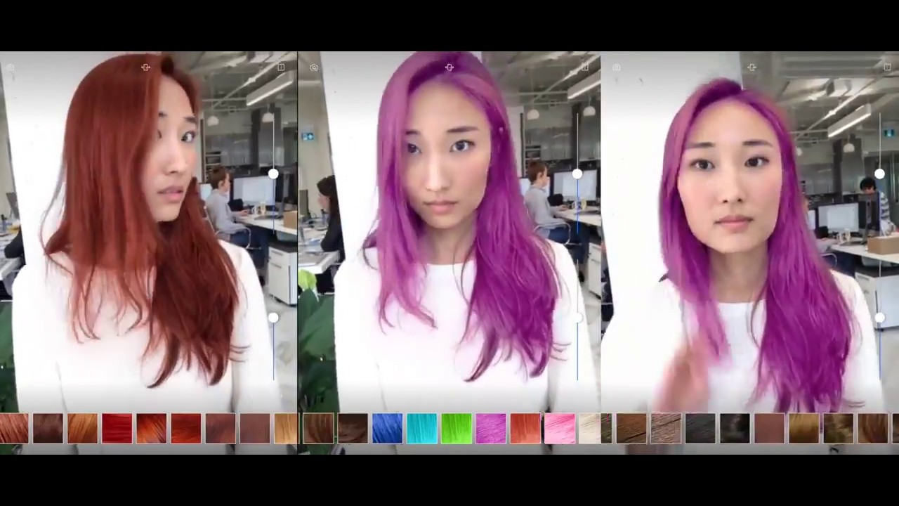 ModiFace Augmented Reality Hair Coloration Demo - YouTube