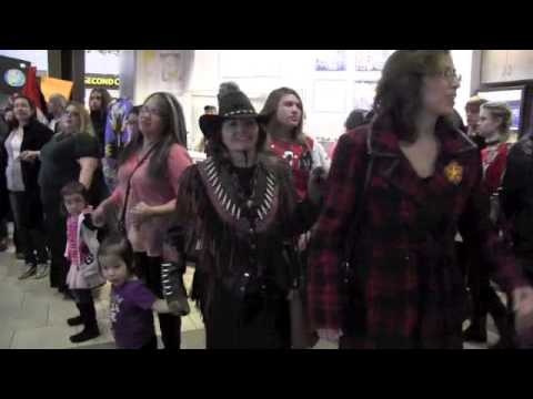 Round Dance Flash Mob at Kingsway Garden Mall - IDLE NO MORE